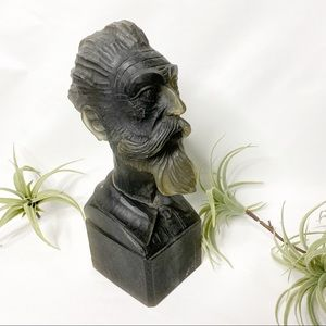 Vintage Scholarly Bearded Man Head Bust Bookend